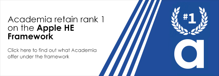 Academia retain rank 1 on the Apple HE Framework.